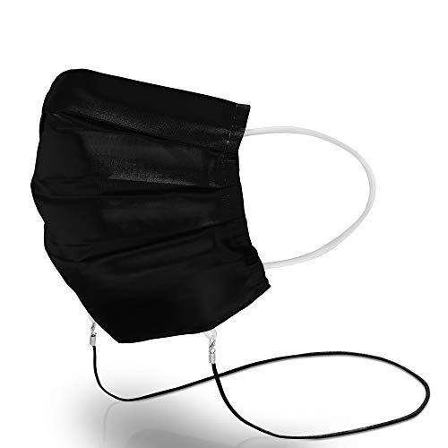 Green Exit® Maske mit Maskenband, ECO-Friendly Baumwolle, Mundschutz Schwarz Waschbar, Mund Nasenschutz zum Umhängen, 1er Pack