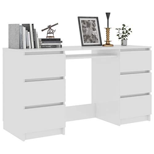Tidyard Schreibtisch Computertisch PC-Tisch 140 x 50 x 77 cm Mit 6 Schubladen für Enge Büros, Wohnheime,Bürotisch Arbeitstisch Konsolentisch Konsole,Spanplatte