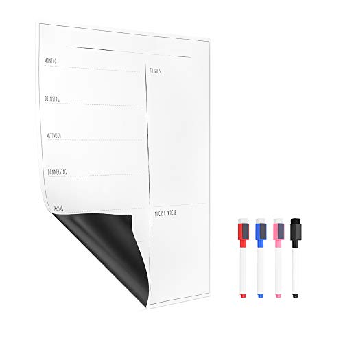 Navaris Magnettafel Wochenplaner Magnet für Kühlschrank - 40 x 30 cm Wochenplan Kalender - abwischbare Tafel für Kinder und Familie - Deutsch