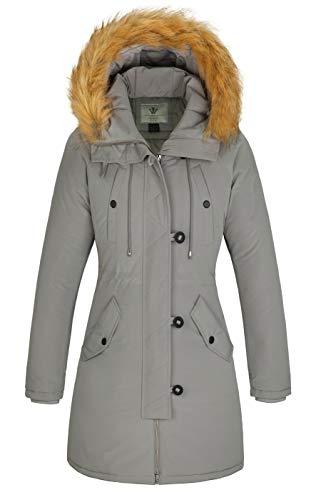 WenVen Women's Winter Water Resistant Warm Padded Parka Jacket (Light Grey, M)