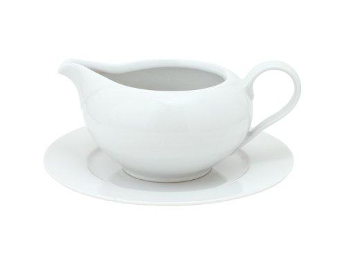 Kahla Aronda Sauciere, 2-tlg., Soßenkanne, Soßenbehälter, Kanne für Soße, Soßenschüssel, 450 ml, Weiß, 053000A90005B