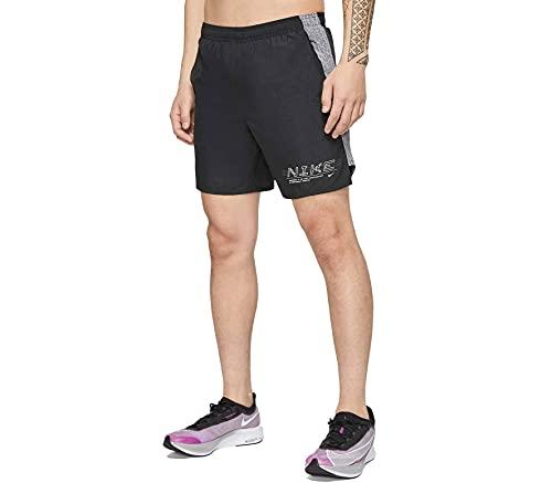 Nike Challenger 7In Pantaloncini Sportivi, Nero (Black/Reflective Silv), L Uomo