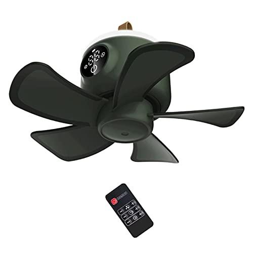 GYAM Ventilador de Techo 8000 mAh Ventilador Recargable USB Control Remoto 4 Engranajes Ventilador de sincronización para Tienda de campaña con lámpara LED para el hogar al Aire Libre,Verde