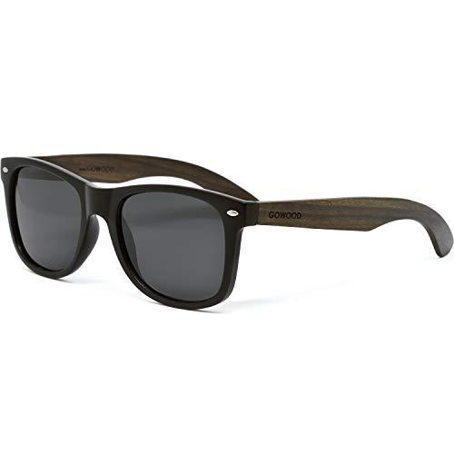 GOWOOD Gafas de sol para hombre y mujer con patillas de madera de ébano y cristales negros polarizados