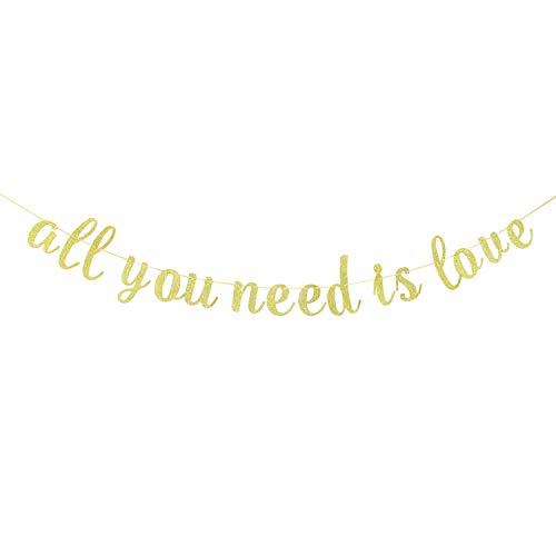 INNORU Glitter Gold All You Need is Love Banner - Engagement, Wedding Anniversary Party Bunting Decoration Photo Props