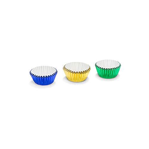 Patisse 01727 Lot de 75 Caissettes à Cupcakes Aluminium Bleu/Jaune/Vert 3 cm