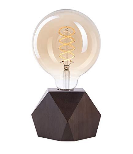 CROWN LED Tischlampe Vintage Batteriebetrieben - Design Tischleuchte aus Holz Farbe Eiche dunkel E27 Fassung inkl. Retro Edison LED Glühbirne EL20