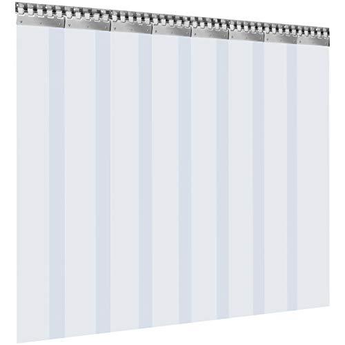 VEVOR Cortina Puerta PVC Transparente Impermeable, 2 x 2,5 m, Material Impermeable Transparente PVC 8 Tiras Total, Cortina Puerta PVC Resistencia a Arañazos para Supermercados Tiendas Baño Fábricas
