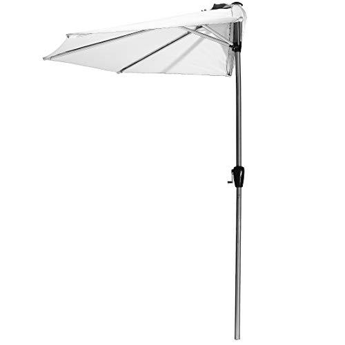 Luxus Sonnenschirm, 270 x 245 cm, halbrund, Aluminium Schaft mit hochwertiger Metall Optik, Weiß