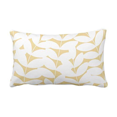 Traasd11an Funda de cojín rectangular con diseño de hojas, color mostaza/blanco, color amarillo dorado moderno botánico/diseño de hojas, fundas de almohada para sofá, 30,5 x 50,8 cm