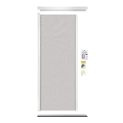 """Revelation - Simple Door Retractable Screen   Durable & Strong, PVC & Aluminium Components, for 79-1/4"""" to 82-1/4"""" Height Standard Door, Up to 36"""" Width   Hardware & Mesh, Easy to Install, (White)"""