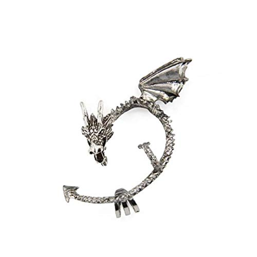 Hotaden 1pc Juego de Tronos Manguito del oído del dragón del Pendiente del Abrigo gótico Punky del Estilo del Metal de la Vendimia del Clip del oído de Plata -Antique