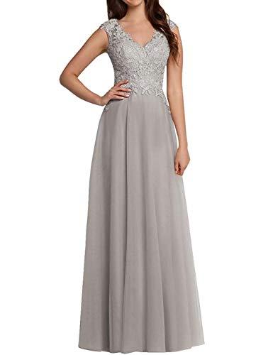 Aurora dresses Damen V-Ausschnitt Abendkleider Spitze Ballkleid Elegant für Hochzeit Lang Brautkleider (Silber,46)
