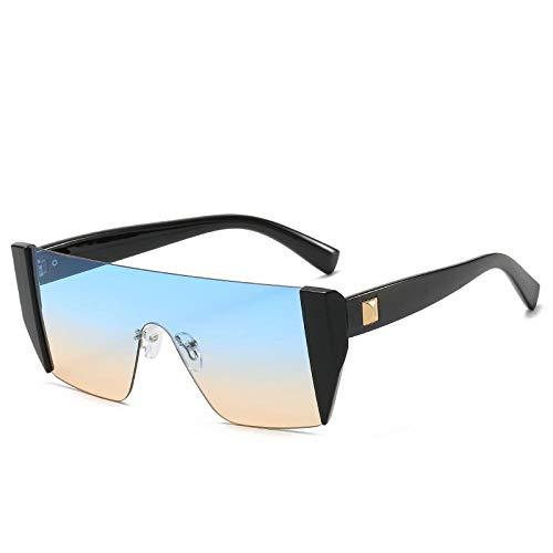 HAOMAO Gafas de Sol de Gran tamaño con Lente de una Pieza sin Montura para Mujer, Parte Superior Plana, Montura Grande, Degradado, Negro, Azul, Rosa