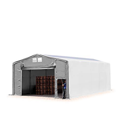 TOOLPORT Lagerzelt Zelthalle Weidezelt 8x10x4 m mit Hochziehtor - durchgehende Plane ca. 550g/m² PVC mit Oberlicht - Wasserdicht