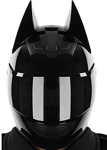 Casco Integral De Motocicleta,Modular Cara Completa Oreja De Gato Orejas De Murciélago Casco Moto Con Visera Negra Para Mujeres Estilo Retro Oscuro Certificación ECE 22.05 1,M=54-56CM