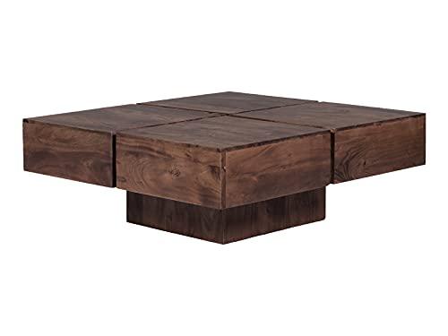Woodkings® Couchtisch Amberley Echtholz modern, Design, Sofatisch, Massivholz exklusiv, Lounge Coffee Table (Akazie dunkel, 80x80)