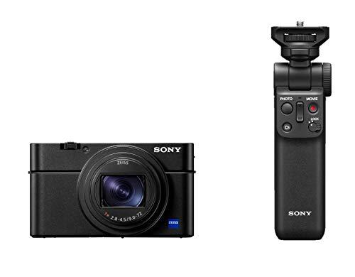 Sony RX100 VII Premium Kompakt Digitalkamera (24-200mm, F2.8-4.5 Zeiss Objektiv, neigbares LC Bildschirm, 4K HDR, 1,0 Zoll Sensor, Echtzeit-Tracking, AF mit Augenerkennung) schwarz + Bluetooth Griff