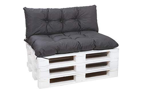 Cuscino per pallet da esterni, per pallet, europallet, cuscini da divano, da giardino (antracite, set di cuscini per pallet: 120 x 80/120 x 40 cm)