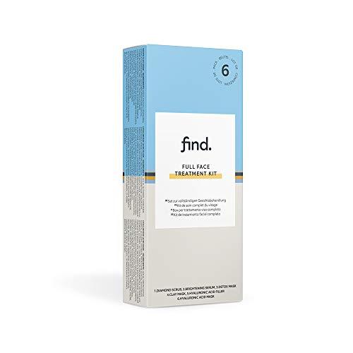 FIND - Confezione per trattamento completo del viso (esfoliante ai diamanti, siero illuminante, maschera detox, maschera all'argilla, maschera/filler