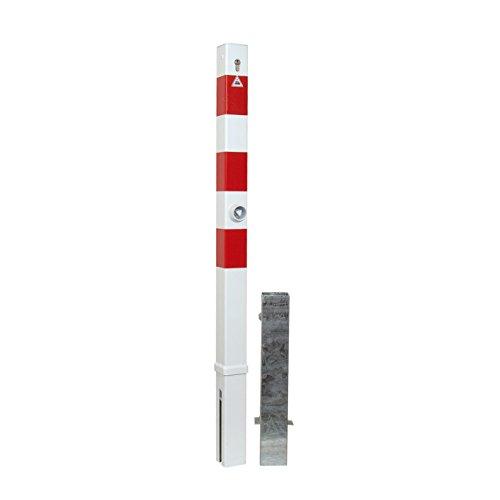 Absperrpfosten 70 x 70 mm herausnehmbar mit Profilzylinderschloss (inkl. 3 Schlüssel) Dreikantverschluss und Bodenhülse