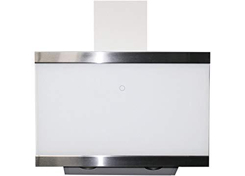 respekta kopffreie Schräghaube Dunstabzugshaube Abzugshaube Wandhaube Glas 60 cm weiß EEKL A+ / Touch Control / Abluft und Umluft / LED