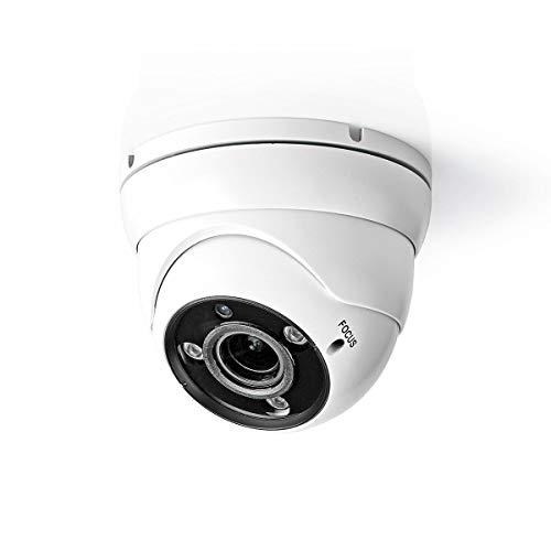 Nedis Cámara de Seguridad CCTV Nedis - Cámara de Seguridad CCTV - Cúpula - Full HD 1080p - para Uso DVR HD Analógico - Visión Nocturna - Blanca Negro/Blanco 0.50 m