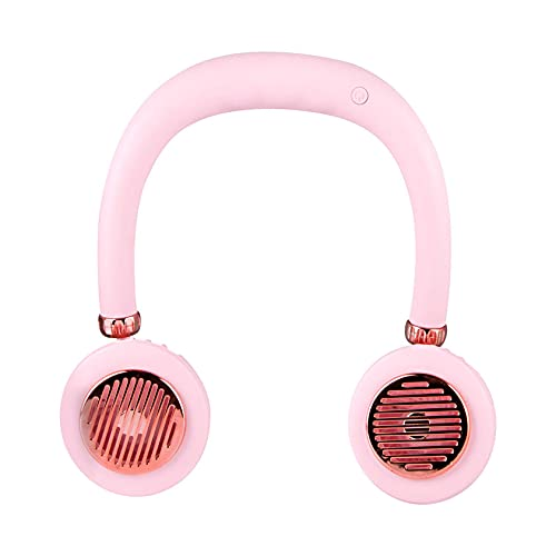 Enfriador de cuello de ventilador USB recargable, ventilador personal sin manos, portátil, sin hojas, cómodo enfriador eléctrico para interiores y exteriores (rosa)
