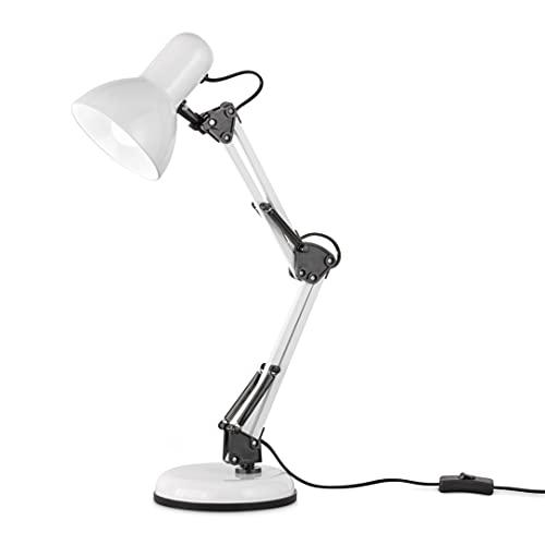 EGLO Tischlampe Colinezza, 1 flammige Schreibtischlampe flexibel einstellbar, Tischleuchte Industrial, Modern, Bürolampe aus Metall in Weiß und Schwarz, Lampe mit Schalter, E14 Fassung