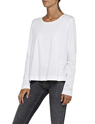 Replay Damen W3846 .000.22536P Langarmshirt, Weiß (Optical White 1), Large (Herstellergröße: L)