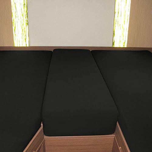 G BETTWARENSHOP Wohnmobil Wohnwagen Heckbett Spannbetttuch-Set 3-teilig schwarz, 2 Längsbetten + Mittelteil