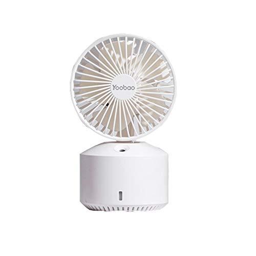 Mini condizionatore Ventilatore tenuto in Mano, USB Fan, Mano Fan, Scuotere la Testa Carica Fan Office Desktop Ventilatore Portatile Piccolo Mute/Rosso, Bianco (Color : White)