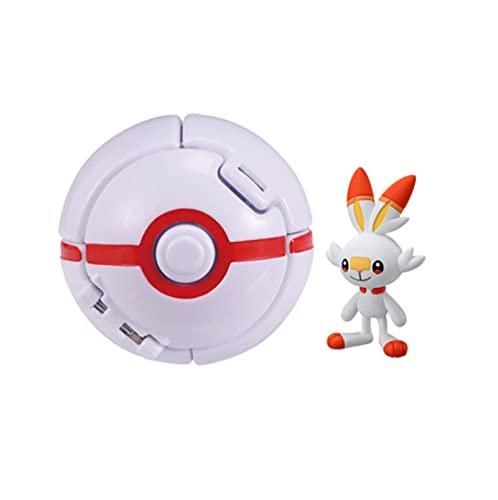 Pokemon Elf Ball Pocket Monster Pokeball Scorbunny Deformation Anime Figura Modelo Juguete De Regalo Embolsado 8Cm