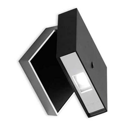 Lámpara de pared cuadrada, 360º 1 led 2, 1W 700mA, con difusor de policarbonato, serie Alpha, color negro, 8 x 12 x 12 centímetros (referencia: 794004)