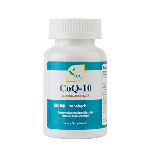 VED Co Enzyme Q10 | Support Healthy Heart and Muscles | Promote Cellular Energy | Reduce Headaches | 500mg 90 Softgels(Pack of Three)