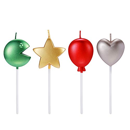 Funny Birthday Cake Candles Set – 4-Pack Unique Metallic Childrens Birthday Cake Candles for Bday Party – Funny Star Heart Balloon Pac-Man Birthday Cake Cupcake Candles for Kids and Adults