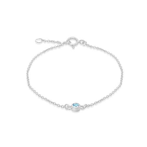 Tuscany Silver Women's Sterling Silver Adjustable Bracelet - Aqua CZ March Birthstone - 16cm/6.25'- 18cm/7'