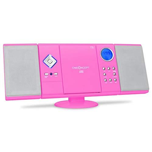 OneConcept V-12 - Stereoanlage mit CD-Player, Kompaktanlage, Microanlage, UKW Radiotuner, USB, Ordnernavigation, SD-Slot, AUX-In, Fernbedienung, Wecker, Wandmontage möglich, pink