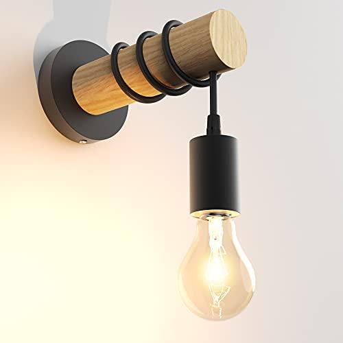 OTREN Lámpara de pared retro de metal y madera, bombilla E27 no incluida, aplique vintage, diseño industrial, color negro