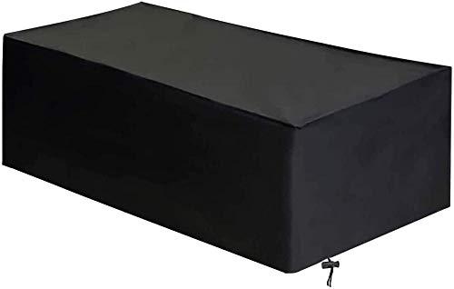 Fundas para Muebles de jardín Impermeable Oxford Tela Protectora Viento Paño Resistente Polvo Anti-UV Protección Exterior CubiertasCopertura Mesas Sillas Sofás 330x220x90cm(130x87x35in)/Negro