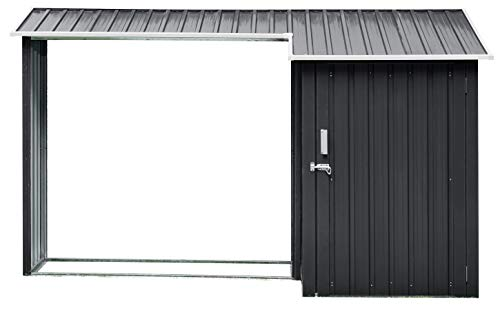 Hanover HANMLTIWDSHD-Gry 2-in-1 Galvanized Steel Multi-Use Shed with Firewood Storage, Dark Gray/White