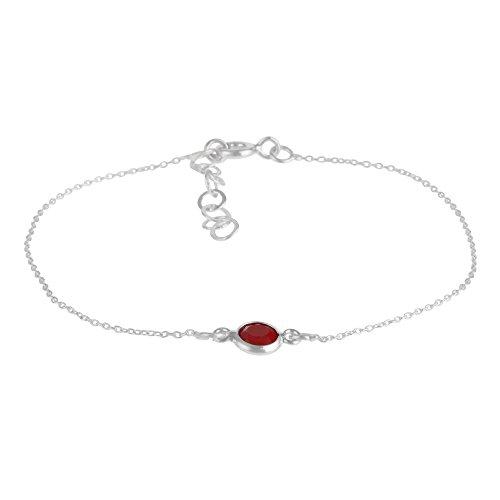 Córdoba Jewels | Pulsera en Plata de Ley 925 con Piedra semipreciosa con diseño Dolce Rubí Silver