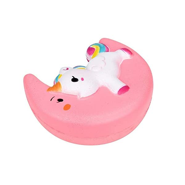 Fun Toys Squishies, Kawaii Moon Unicorn Squishy, Creamy Aroma Slow Rising Squeeze Toys for Boys and Girls Gift (Color : Yellow) 5