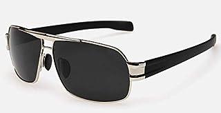 نظارة شمسية بتصميم مربع بعدسات مستقطبة واطار مطلي مناسبة للقيادة، بلون رمادي