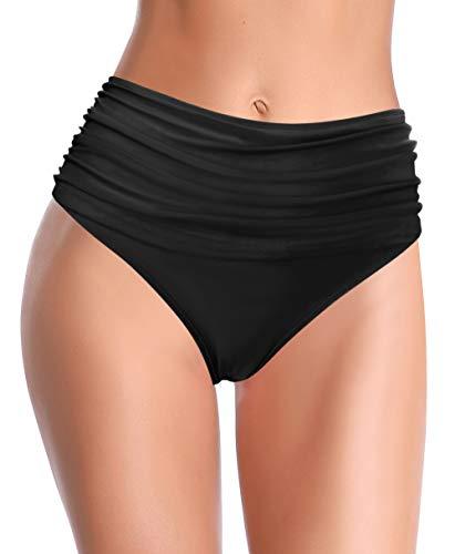 SHEKINI Donna Bikini Fondo Retro A Vita Alta Ruched Taglia Larga Nuoto Tronchi Tankini Controllo Addominale Bikini Donna da Spiaggia Pantaloncini (S,Nero-3)