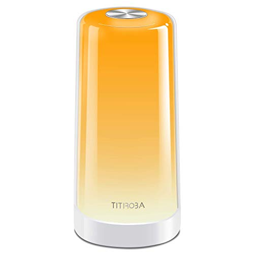TITIROBA LED Tischlampe Dimmbare Berührungssensitive Nachttischlampe mit 256 RGB Stufenlos Atmosphäre Stimmungslicht Touch Tischleuchte Memory-Funktion Nachtlicht für Baby Stillen Kinder Schlafzimmer