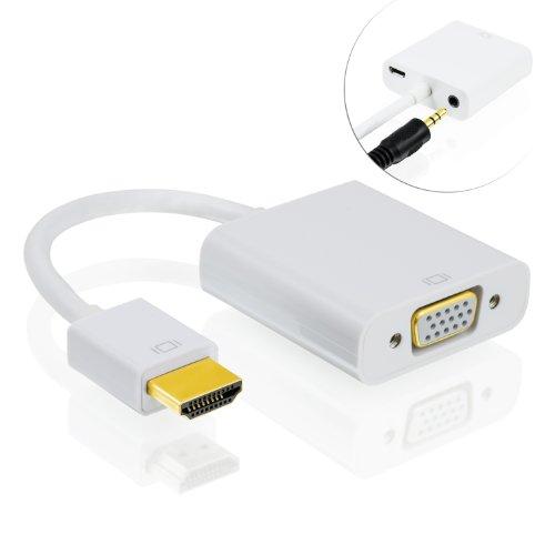CSL-Computer Full HD HDMI auf VGA Adapter inkl. Audio-Übertragung Line Out - Konverterkabel - bis zu 1080p HDTV Unterstützung - digital zu analog - in weiß