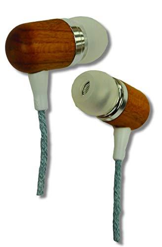 Earth-Budz - Genuine Wood Earbuds, in-Ear Noise-Isolating Headphones, with in-line Microphone. (Blue Skies)
