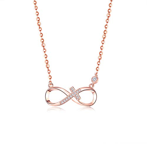 BDD CO. Infinity Necklaces, 925 Sterling Silver Necklaces for Women, Infinite Love, Girls Necklaces Adjustable,Rose Gold Necklaces