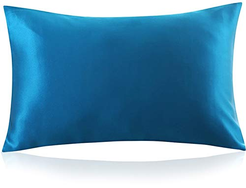 ZIMASILK 100% Mulberry Silk Pillowcase for Hair and Skin,Both Side 19 Momme Silk, 1pc (Queen 20''x30'', Peacock Blue)